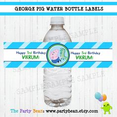 George Pig from Peppa Pig Water Bottle Labels  by partybean, $5.99