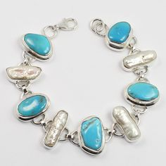 925 Sterling Silver Natural SLEEPING BEAUTY TURQUOISE & BIWA PEARL Gems Bracelet #Unbranded #Chain
