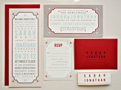 Tori Vintage Tag Wedding Invitation Suite with Belly Band - Ivory, Red, Aqua, Taupe and Tan (customizable)