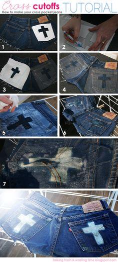 DIY Denim cross cut-off fashion jean - step by step summer short tutorial  via talkingtrashwastingtime.blogspot.com.au