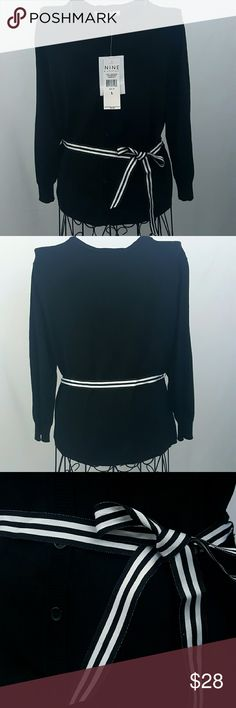 NWT Nine and Company women's cardigan size 16 Black cardigan by Nine and Company new with tags. Size Large. Cardigan includes black and white striped ribbon belt. Retailed at $49 Nine & Company  Sweaters Cardigans