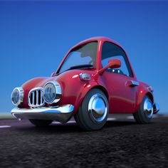 Red Cartoon Car by 3D artist strob. Available on TurboSquid.com.