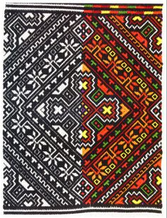 Nyzynka embroidery of western Ukraine: Black darning stitch worked on reverse, then color stitches added.