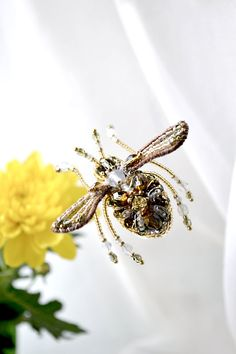 Insect jewelry Mini Bee brooch Nature inspired bead embroidered bee jewelry, earth tones, unique insect lover's gift OOAK present for her