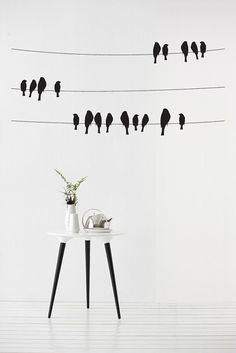 Birds on a wire Vinyl Wall Sticker in Nature by Vinyl Impression Deco Stickers, Diy Wall Stickers, Removable Wall Stickers, Wall Drawing, Diy Décoration, Vinyl Wall Art, Decoration, Wall Murals, Diy Home Decor