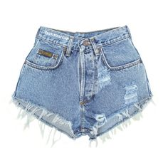 "ALL SIZES ""PLAINO"" Vintage Levi high-waisted denim shorts blue distressed frayed jeans ($26) found on Polyvore"