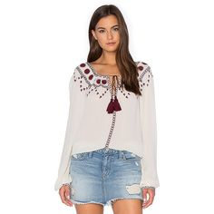 The Kooples Boho Embroidered Off The Shoulder Top ($140) ❤ liked on Polyvore featuring tops, blouses, fashion tops, off shoulder blouse, bohemian tops, embroidered boho top, bohemian style tops and off the shoulder boho top