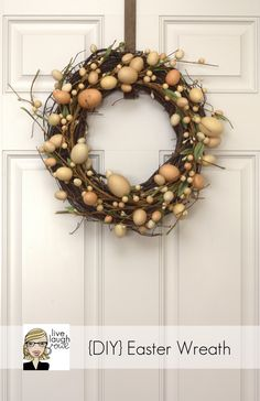Easy Easter Crafts - Spring Crafts - Good Housekeeping: Just head to your local craft store and pick up an egg garland and a grapevine wreath. Intertwine the two and show off your new decoration. Hoppy Easter, Easter Eggs, Easter Wreaths, Christmas Wreaths, Spring Wreaths, Diy Ostern, Diy Wreath, Grapevine Wreath, Wreath Ideas