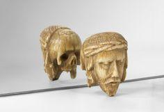 Memento Mori janussiforme en ivoire avec une tête de Christ.Fin du XVIe siècle.PhotoBeaussant-Lefèvre
