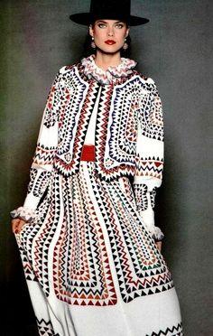 L'Officiel March 1982 Louis Féraud Printemps-Été Collection 1982 Carol Alt by… Folk Fashion, Ethnic Fashion, Vintage Fashion, Vintage 70s, Louis Féraud, Carol Alt, 1990s Supermodels, Herve, Power Dressing
