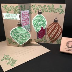 Christmas Stamp-a-Stack on 20Nov2016: Stamp sets EMBELLISHED ORNAMENTS from the 2016-2017 Inspiration catalog and DELIGHTFUL DECORATIONS (retired). Card stock is Crumb Cake, Whisper White, copper and silver. Ink colors Real Red and Cucumber Crush. Framelits Banners and Delicate Ornaments. Ornament punch (retired). Technique is Double Z-Fold. All supplies & images by Stampin'Up!