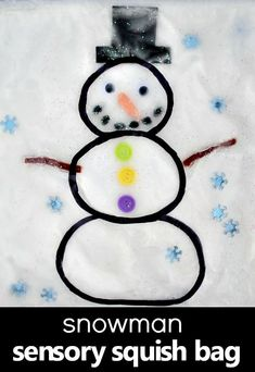 Snowman Sensory Bag for Toddlers and Preschoolers. Indoor fun for winter! #sensory #snowman #preschool