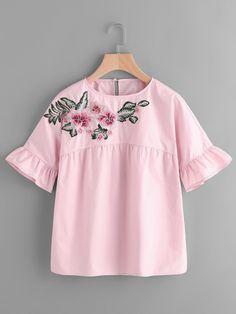 Shop Embroidered Flower Embellished Ruffle Sleeve Babydoll Top online.