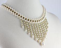 Image detail for -Bridal Fringe Pearl Choker Khaki Cream Necklace Statement Wedding ...