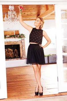 Pin for Later: Lauren Conrad Shows Us What She'll Be Wearing For Christmas LC Lauren Conrad For Kohl's Holiday 2015 Embellished Knit Shell ($48), Tulle Skirt ($44), Johanna Heels ($68)