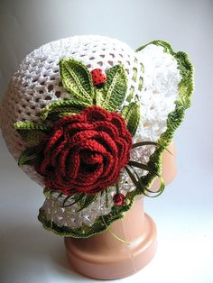 Cotton Beanie in White with Dark Red Rose