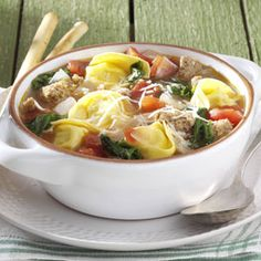 Rustic Italian Tortellini Soup Recipe- Recipes  This is my favorite soup recipe. It's quick to fix on a busy night and full of healthy, tasty ingredients. It originally called for spicy sausage links, but I've found that turkey sausage, or even ground turkey breast, is just as good. —Tracy Fasnacht, Irwin, Pennsylvania