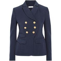 Altuzarra Seth double-breasted wool-gabardine blazer (26 615 ZAR) ❤ liked on Polyvore featuring outerwear, jackets, blazers, blazer, navy, blazer jacket, navy jacket, military blazer, military jacket and navy wool blazer