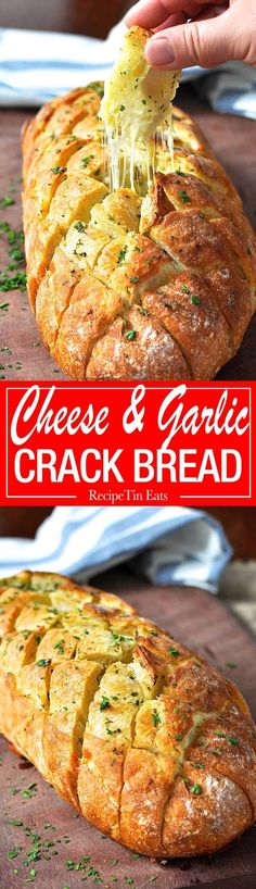 "Cheese and garlic crack bread - this cheesy garlic bread is outta this world! <a href=""http://www.recipetineats.com"" rel=""nofollow"" target=""_blank"">www.recipetineats...</a>"