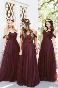 2018 Burgundy Bridesmaid Dresses Country Style Off Shoulder Beach Wedding Party Guest Dresses Maid of Honor Dress Cheap MUMU Tulle Long #beachweddingdresses #bridesmaiddresses #beachweddings