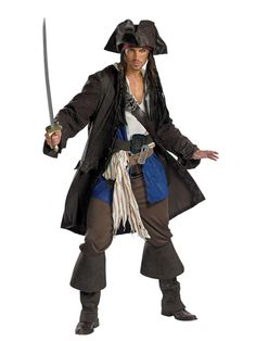 Pirates of the Caribbean Jack Sparrow Adult Halloween Costume, Disguise 5626
