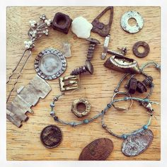 When I cleaned out the old car I rediscovered all these found objects I had stashed in there. #foundobjects #urbantreasures #treasure #rusty #upcycling #metal