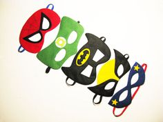 5 felt Masks Party package for kids - Spiderman, Superman, Batman, Wolverine, Green Lantern - for Boys Girls - Dress Up play Birthday gift