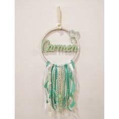 Atrapasueños con nombre en... Dream Catcher, Home Decor, Electric Blue, Blue Nails, Pastel Blue, Personalized Gifts, Crowns, Homemade Home Decor, Dreamcatchers