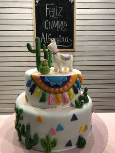 Llama Cake Pretty Cakes, Cute Cakes, Beautiful Cakes, Fiesta Cake, Fiesta Party, Picture Instagram, Cactus Cake, Llama Birthday, Mexican Party