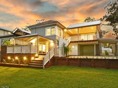 A property in Thornleigh, north west Sydney, which had the highest number of auctions and a successful sale rate of 23 Home Exterior Makeover, Interior And Exterior, Front Verandah, Character Home, House Deck, Two Story Homes, Story House, Home Reno, Outdoor Areas