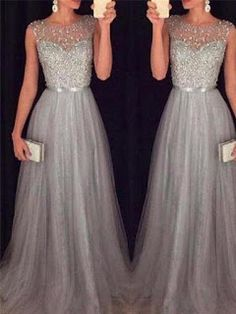 Glamorous Tulle Jewel Neckline A-line Evening Dresses with Beadings Source by ftwbridal hochzeitsgast Long Prom Gowns, Evening Dresses For Weddings, A Line Prom Dresses, Ball Dresses, Sexy Dresses, Beautiful Dresses, Ball Gowns, Bridesmaid Dresses, Wedding Dresses