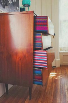 Fabric Lined Dresser Drawers | A Beautiful Mess