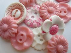 Vintage Buttons  Cottage chic lot of  pink and by pillowtalkswf, $7.25