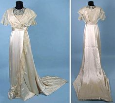 Silk satin and lace wedding gown, ca. 1912. One piece, with long train, bodice, and skirt trimmed with handmade Carrickmacross lace. Augusta Auctions
