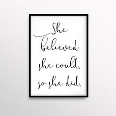 She Believed Art Inspirational Print Motivational Poster Gift For Her Minimal Home