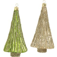"""RAZ Glittered Tree Ornament Set of 2   Assorted tree ornaments Set includes one of each Green, Silver Made of Glass Measures 6.5""""  RAZ 2015 Natural Elegance Collection"""