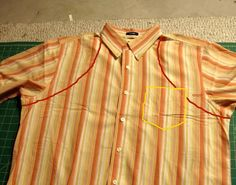 Easily transform a large men's button-down shirt into an apron using these instructions. Materials: 1 large button-down shirt, preferably with a straight bottom hem. Also scissors, pins, a fabric marking pen or pencil (a colored pencil works in a pinch), and coordinating thread. You also need a sewing machine, and an iron. A seam …