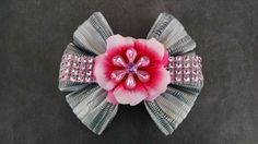 Gray Flower Hairbow Pink Flower Hairbow by GloriaMillerCreation, $7.50