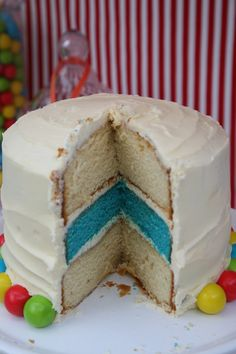 surprise blue layer circus cake / even i could do that! darling. via amy atlas.