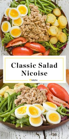 Recipe: Classic Salad Niçoise — Dinner Recipes from The Kitchn Nicoise Salad Dressing, Tuna Nicoise Salad, Salade Nicoise Recipe, Vegetarian Recipes Dinner, Dinner Recipes, Healthy Recipes, Whole30 Recipes, Fish Recipes, Drink Recipes