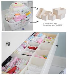 ikea storage boxes for small baby clothes.