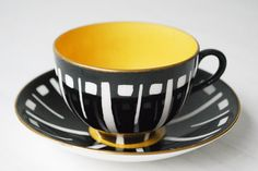 Crown Staffordshire Teacup and Saucer, Black and Yellow Art Deco op Etsy, $66.79