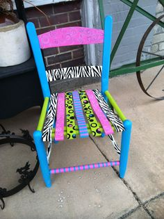Whimsical Child's funky vintage Hand painted wooden antique chair bright whimsical design by Gena..this and many more or her hand painted designs are going to be here at Barrows Antiques...Repurposed Vintage and Antique Furniture for kids!