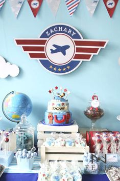 Awesome airplane birthday party! See more party ideas at CatchMyParty.com!