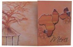 Carte remerciement thème mixte Afrique/Guadeloupe. Pays modifiables à la demande
