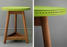 CRAFTSMANSHIP: 'Brogue' side table by Bethan Gray. Walnut base + leather top.