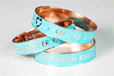 I Am The Daughter Of The Most High King - Teal Enamel Coated Bangle- This One Size Fits All Bangle Has an Inside Diameter of 8 Inches. Please Use a Tape Measure and measure around the largest part of your hand and wrist before purchasing. Sales Are Final On All Accessories. Only 1 Bangle Included. The photos has 3 bracelets to display the full text.