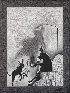 """""""A Mellow Tone"""" in scratchboard. The Painted Donkey: An Art Auction Event. September 8, 2011. Courtesy: Lora Jost, Lawrence, Kansas (USA)."""""""