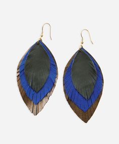 Feathered Fringe Earrings, Cobalt - Noonday Collection