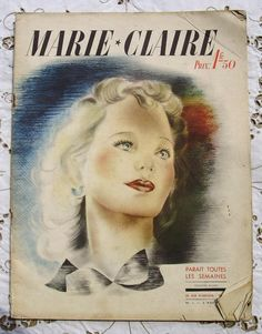 The first issue of Marie-Claire March Is a French, monthly, women's fashion magazine. Founders and publishers Jean Prouvost and Marcelle Auclair. Old Magazines, Vintage Magazines, Fashion Magazines, Marie Claire, Joseph, Les Accents, Jean Patou, Jacques Heim, Vintage Photos Women